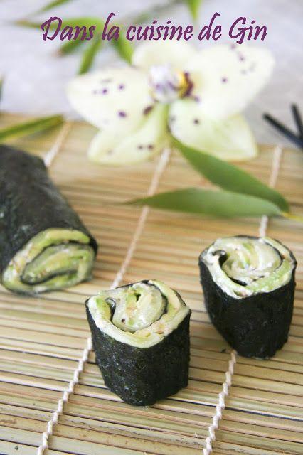 Makis veggies à la crème de wasabi  Sans gluten, sans lactose, végétalien.