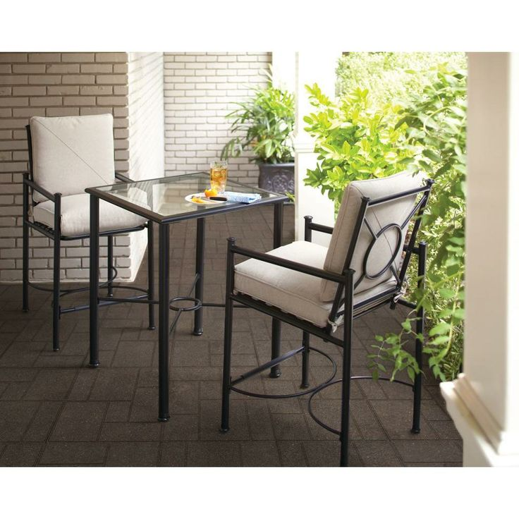hampton bay barnsley 3 piece patio high dining bistro set with