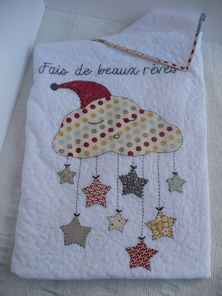 couverture bébé molletonnée nuage étoiles : Puériculture par sylvie-made-it