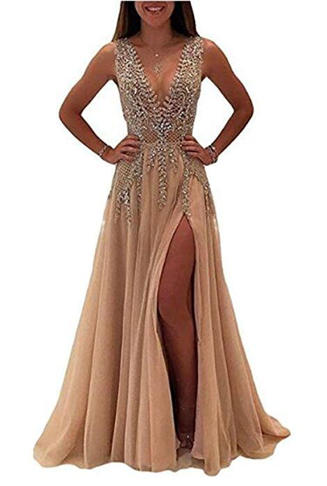 56e94c2dcbd3 KaBuNi Women s Deep V Neck Long Prom Dress Crystal Beaded 2018 Evening Gown  Champagne8 at Amazon Women s Clothing store   longpromdresses