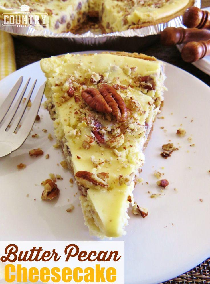 Pastel de queso de mantequilla de pacana