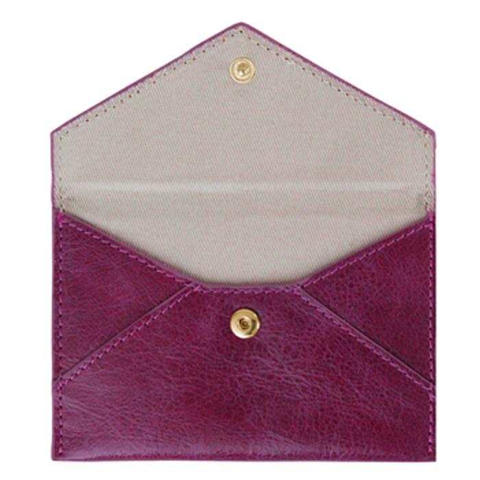 Aubergine Bella Leather Business Card Holder