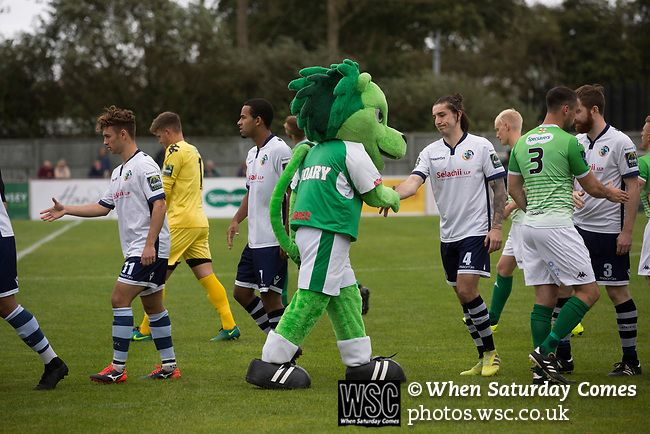 Guernsey 0 Corinthian-Casuals 1, 10/09/2017. Footes Lane, Isthmian League Division One. Home mascot Roary the Lion shaking hands with opponents before kick-off as Guernsey (in green) take on Corinthian-Casuals in a Isthmian League Division One South match at Footes Lane.