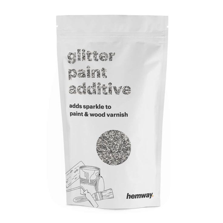 Hemway | Glitter Paint Additive Silver Crystals 100g / 3.5oz for Acrylic Latex Emulsion Paint - Interior / Exterior Wall, Ceiling, Wood, Furniture, Varnish, Dead flat, Matt, Gloss, Satin, Silk