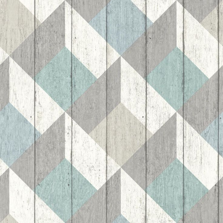 Geometric Wood Panelling Blue wallpaper by Albany
