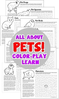 9 free printables from makingfriends.com! Learn how to care for pets. Coloring page and maze to make it fun. Earn your Pets Brownie Badge.