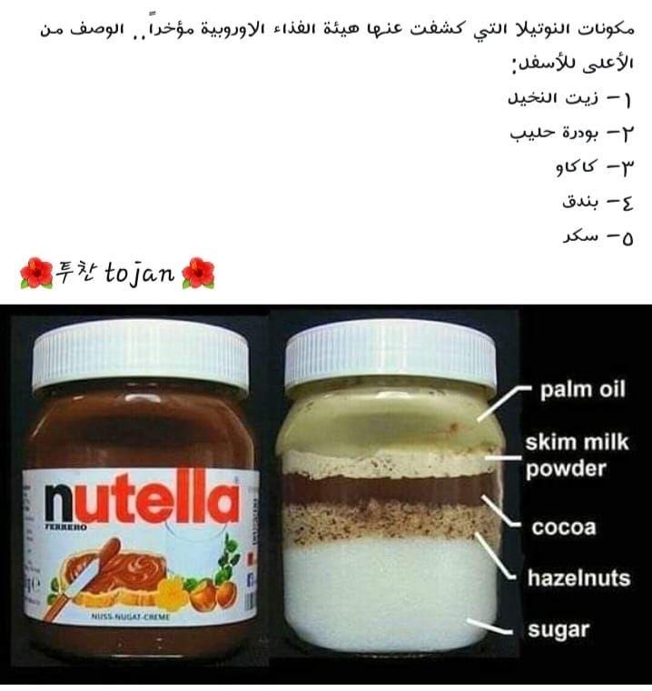 مكونات النوتيلا من هيئة الغذاء الاوربية Nutella Sweet Recipes Food