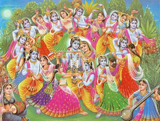 Krishna Lila - One Krishna for Each Gopini - Reprints of Miniature Paintings (Reprint on Paper - Unframed)