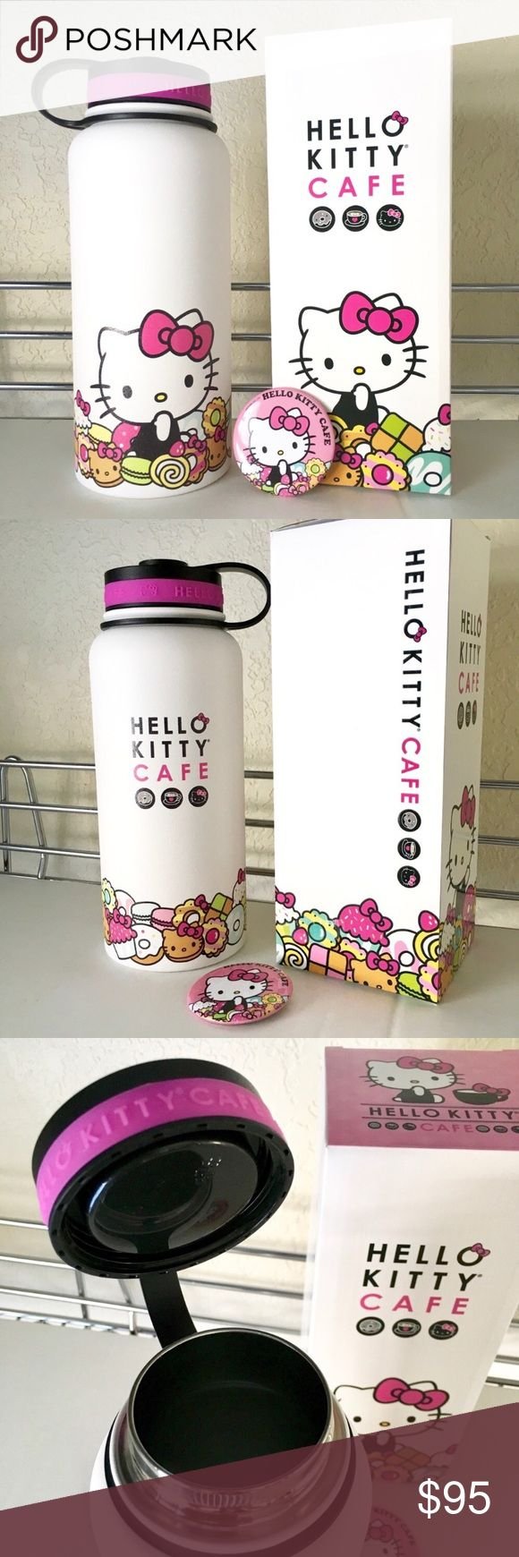 BRAND NEW! Hello Kitty Thermal Bottle Limited Edition 32 oz Hello Kitty Thermal Bottle! Sold only on the Hello Kitty Cafe Truck. Matte outer finish with twist off cap. Super hard to find adorable collectors edition. Plus a free button!   Price is firm. Hello Kitty Accessories