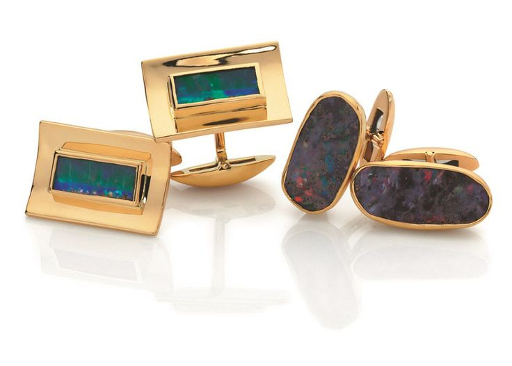 18ct yellow gold Australian boulder opal cufflinks