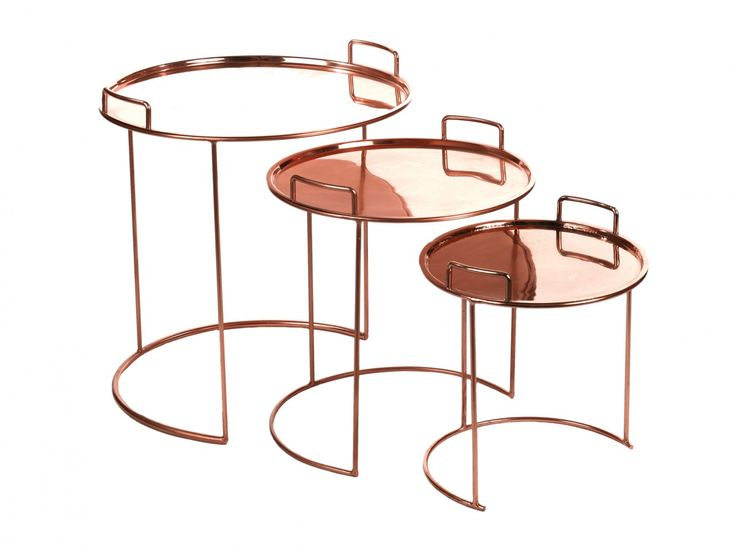 Table tray round copper set3