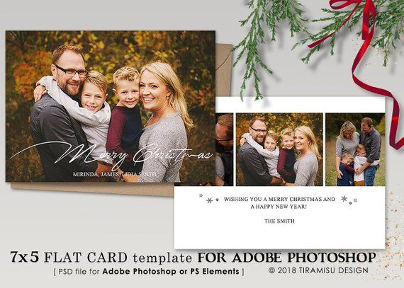 Holiday Card Photoshop Template Christmas Card Template Etsy Christmas Card Template Christmas Photo Cards Christmas Templates