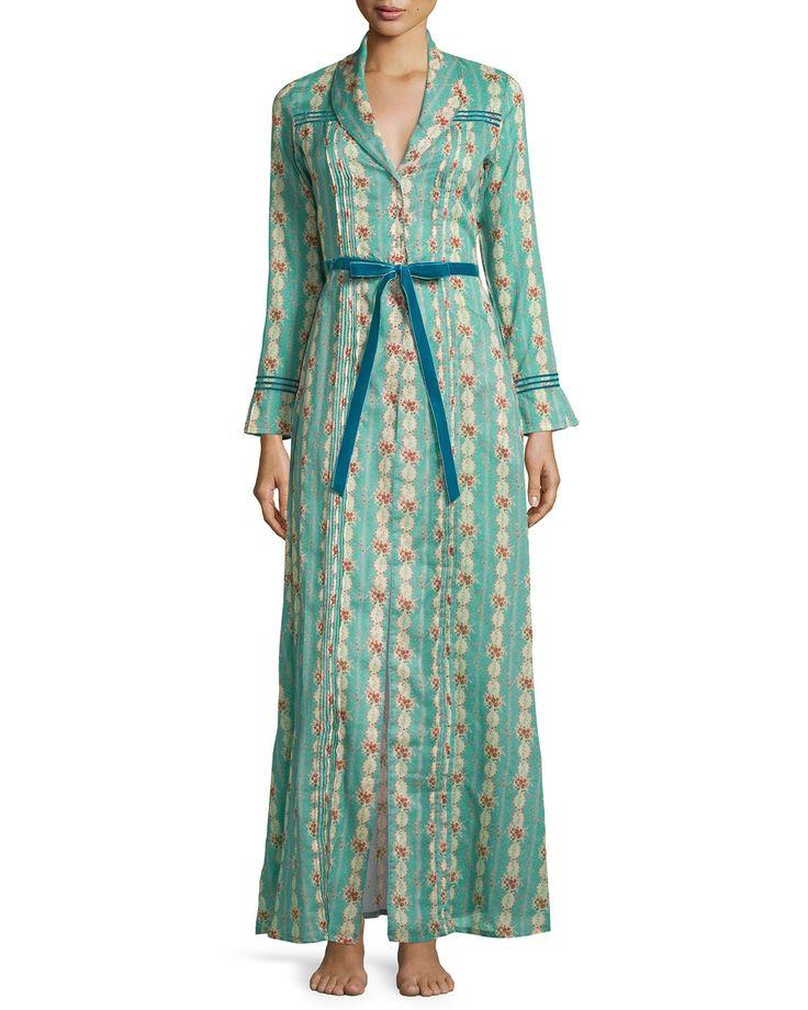 Circe Floral-Printed Long Robe, Size: MEDIUM, Blue Floral - La Costa