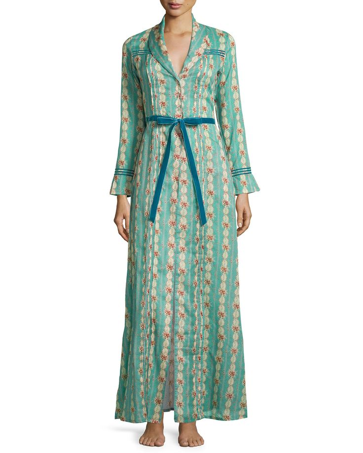 Circe Floral-Printed Long Robe, Size: MEDIUM, Blue Floral - La Costa