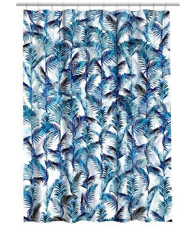 Mønstret dusjforheng | Hvit/Palmeblad | Home | H&M NO