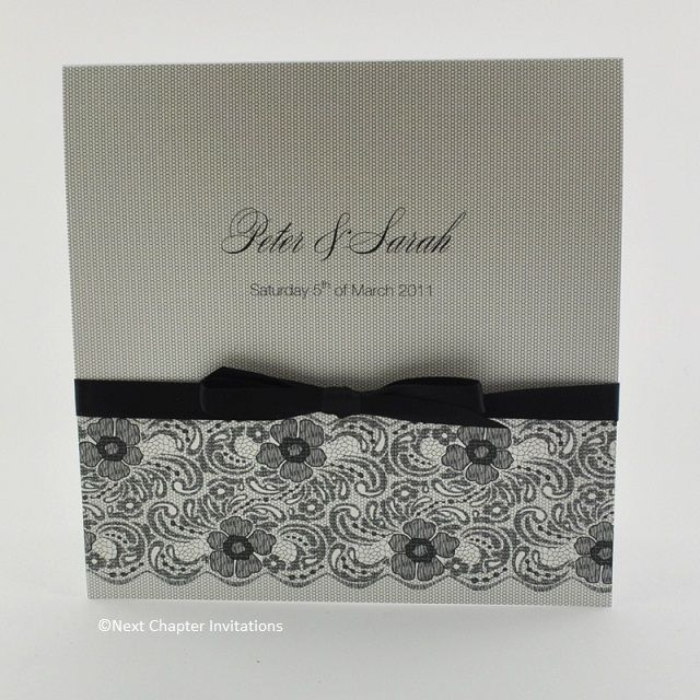 AVELLINO  This beautiful wedding invitation captures the timeless elegance of lace with Valencia Black Lace and Black Mesh to recreate the vintage charm of Italian lace. It's finished beautifully with a black satin bow and includes a matching metallic white envelope. Price: $5.95 https://www.facebook.com/NextChapterWeddingInvitations