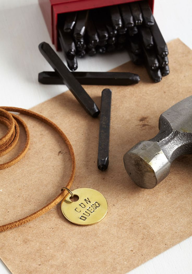 Stamp Your Style DIY Necklace Kit. Unleash your inner craftsman and look lovely while you're at it with this brass necklace stamping kit! #multi #modcloth