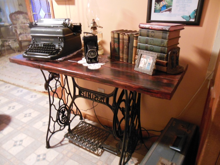 Table I made with old Singer sewing machine stand!