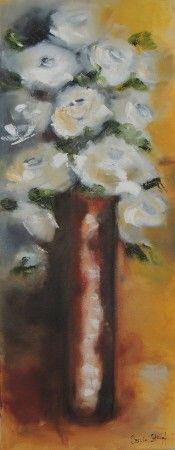 White roses in ochre pot