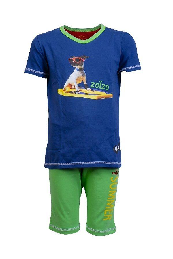 Zo�zo pyjama shortama voor jongens Surfing Dog, groen