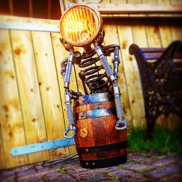 The Thinking light now finished  and mounted on a small wooden barrel  #love #christmas #barrel #unique #uniquemetalworks #lighting #light #welder #welding #wood #thinking #thoughtful #ideas #winter #creative #interiordesign #homedecor #outdoor #recycled #usedparts