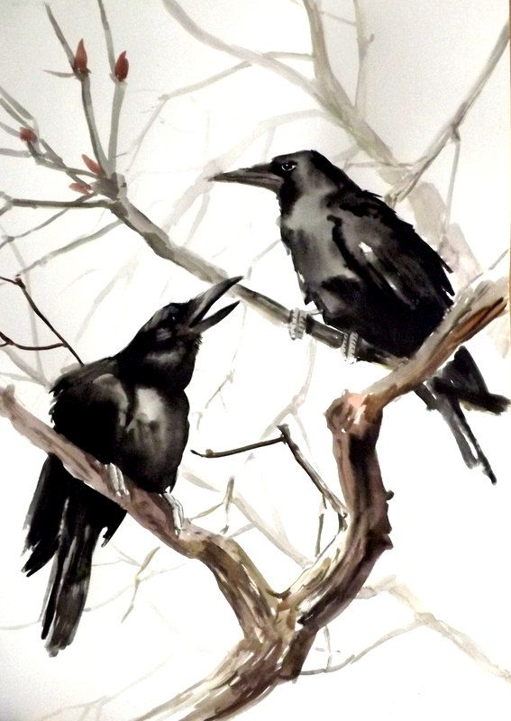 Hey, I found this really awesome Etsy listing at https://www.etsy.com/listing/172881259/ravens-on-the-tree-original-watercolor