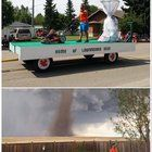Remember the guy who was cutting his lawn during the tornado? Well he had his own float in the local parade! Bolly4u