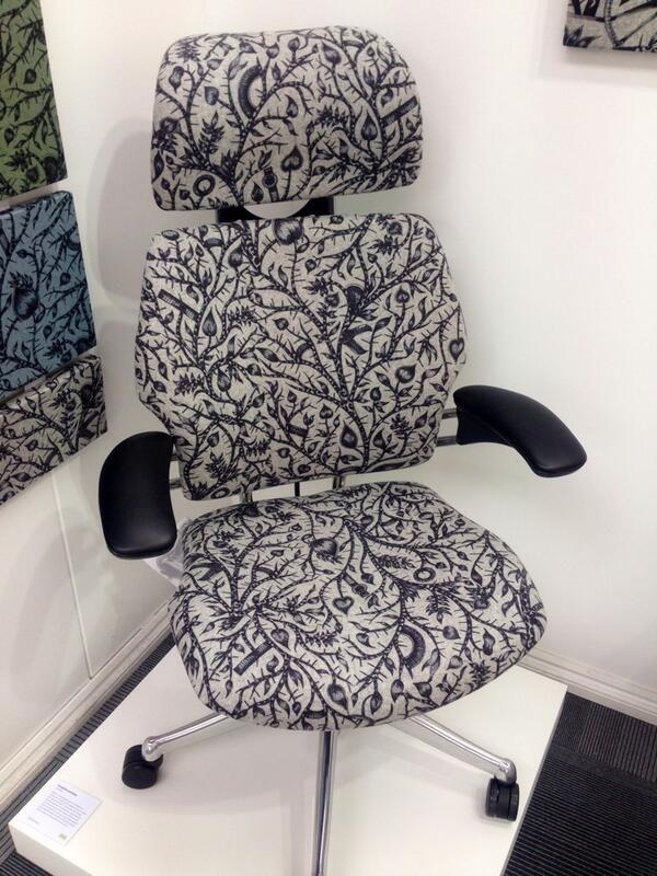 """Tangled"" fabric by Camira Fabrics on a Freedom Headrest at Design Quarter 2013, photo courtesy of Camira Fabrics"
