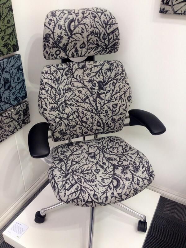 """Tangled"" fabric by Camira Fabrics on a Freedom Headrest at Design Quarter 2013, photo courtesy of Camira Fabrics"