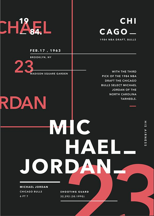 Type Posters x 1984 NBA Draft by James Fitzgerald, via Behance