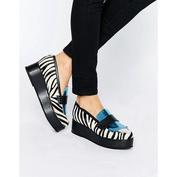 House of Holland Zebra Print Flatform Shoes ($180) ❤ liked on Polyvore featuring shoes, multi, platform shoes, flatform platform shoes, mid heel platform shoes, print shoes and pattern leather shoes