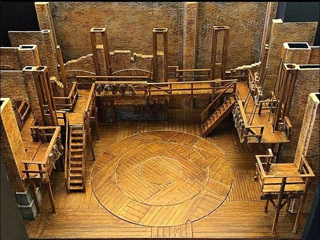 Hamilton Set Design: Warm wooden set, exposed, staircases, balconies, paneling