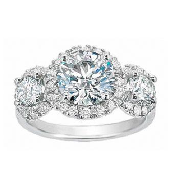 Three Stone Diamond Halo Ring from Brilliant Earth