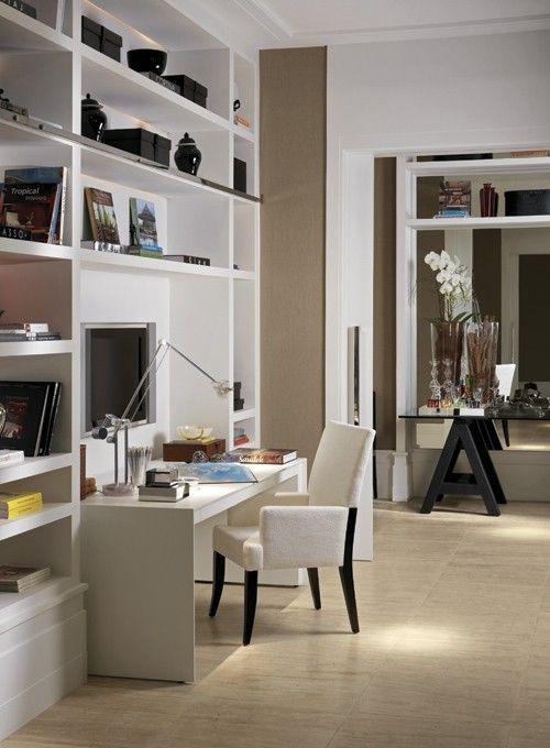 Decor alb pentru biroul de acasa. #decorinterioralb, #amenajaribirou