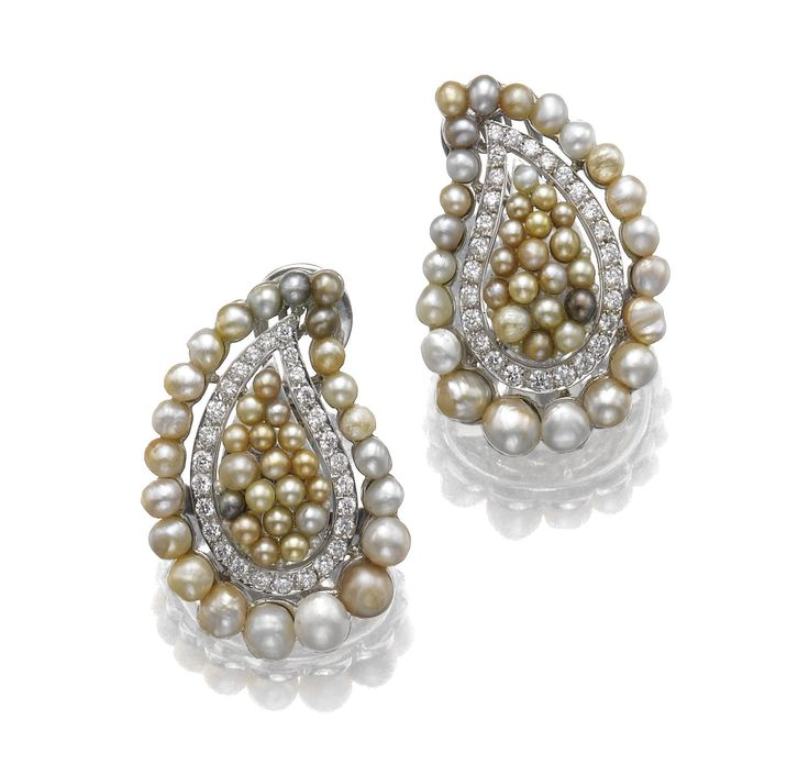 Pair of seed pearl and diamond earrings, Michele d…