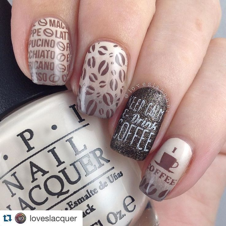 Coffee. because you can love this fun little mani by the amazing @loveslacquer I'm a coffee addict so I couldn't wait to use the new @uberchicbeauty Coffee Addict mini plate I used @opi_products MVIB Do You Take Lei Away and Berlin There Done That in the gradient with an accent of #opi What Wizardry Is This and stamped with @mundodeunas stamping polish #uberchic #uberchicbeauty #mundodeunas by uberchicbeauty
