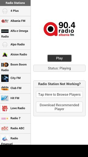 Listen to Albania radio online free (radio shqiptare). You can listen to these Albanian radio stations in the background using this fm radio live streaming app.<p>Note: Just install the recommended player or use other audio players If the default player doesn't support the streaming source.<p>Listed below is the list of available Albania radio stations:<p>4 Plus<br>Albania FM<br>Alfa e Omega Radio<br>Alpo Radio<br>Alsion Radio<br>Boom Boom Radio<br>City FM<br>Club FM<br>Hit FM<br>Love…