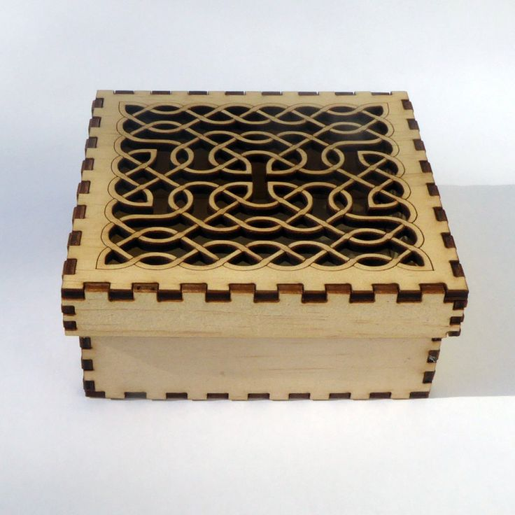 Plywood laser cut box kit - self assembly with Celtic Knot top design (Style #2) by KarenSmithDesigns on Etsy
