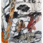 Denis Clarke - Bush and Rocks Study - Mixed Media with Carbon Pencil - 76cm x 56cm