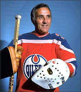 Jacques Plante at age 46 in his final season (74-75) with the WHA's Edmonton Oilers.