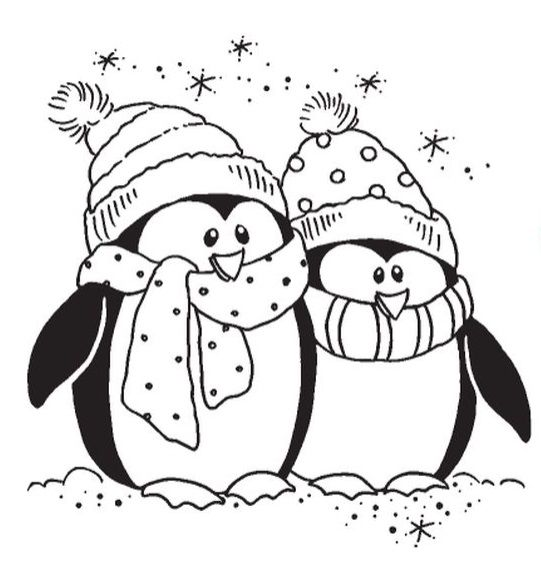 Stampendous - Cling Mounted Rubber Stamp - Bundled Penguins
