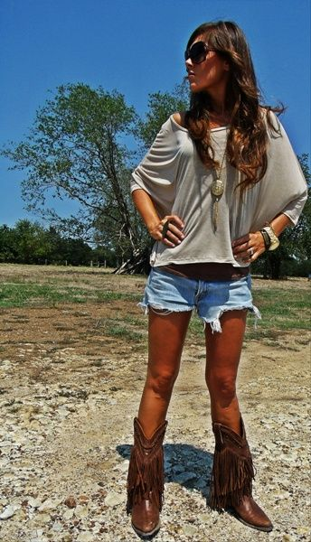 Shorts and shirt--- absolutely in love with the fringe cowboy boots!!
