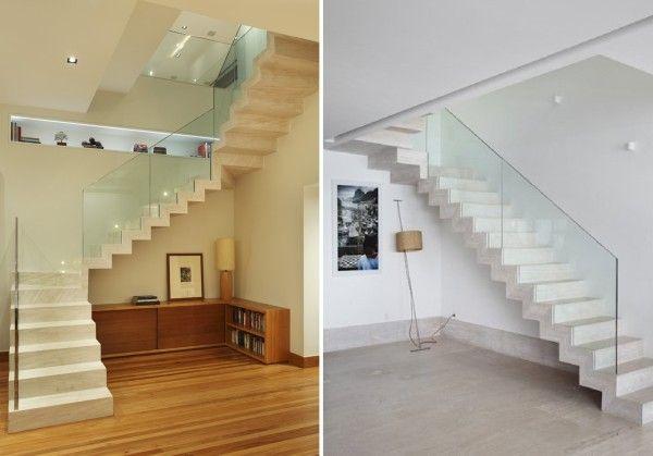 projetos de escadas revestidas de marmore com guarda corpo de vidro