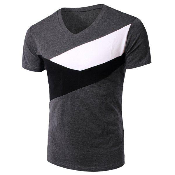 Slimming V-Neck Splicing Short Sleeves T-Shirt For Men