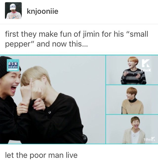 Poor jimin will never seen an end <<< HIS LITTLE JIMIN HANDS! I bet you $20 that my hands are bigger then his even with the five year age difference