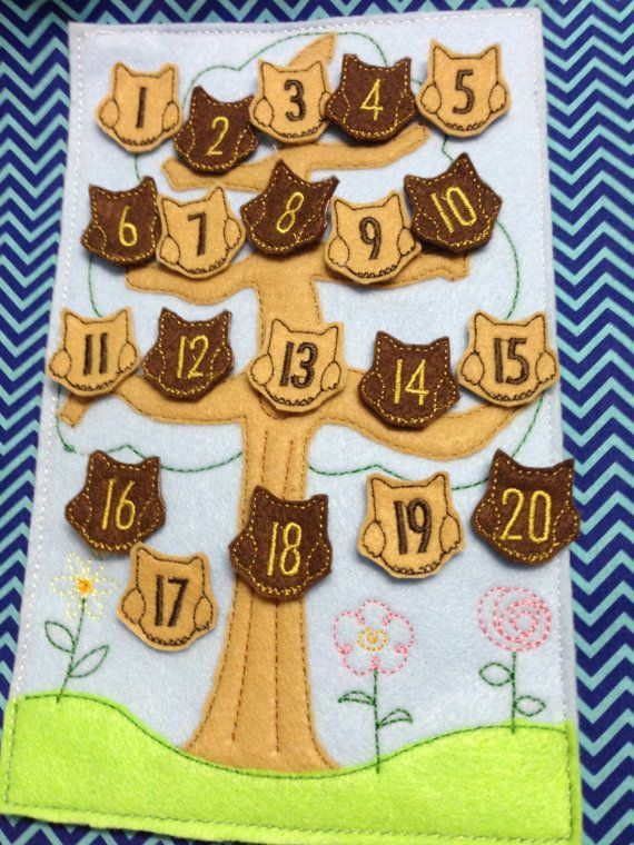 Owl in a tree counting, number felt game on etsy. $15 Rosie K Embroidery