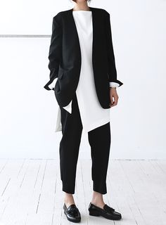 Business casual, black patent loafers, black pants, white tunic, black blazer