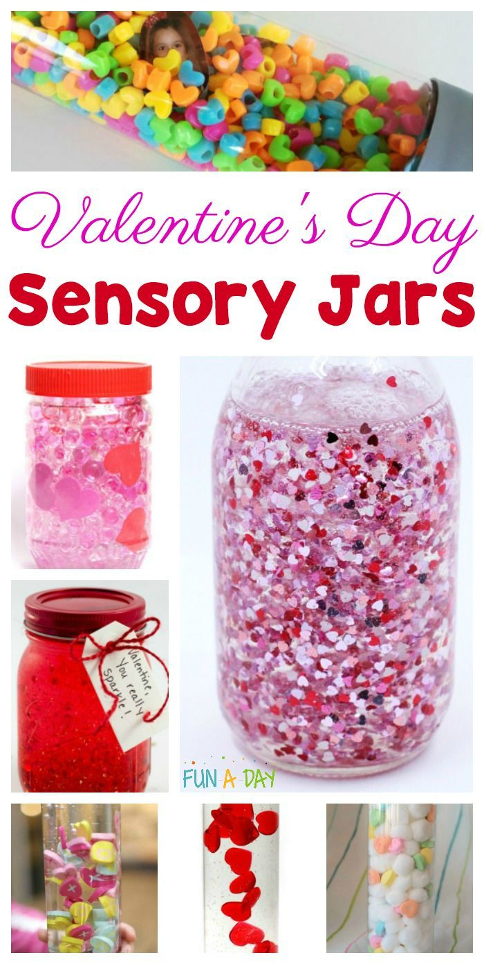 Valentine's Day sensory jars the kids will love to make #valentinesday #Preschool #PreK #PreschoolTeachers #Kindergarten #sensory #Calm #SensoryActivities #FunADay #Valentine #SensoryPlay #PreschoolActivities