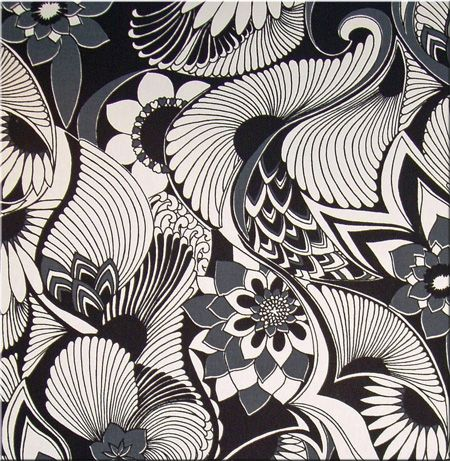 Florence Broadhurst 'Aubrey' fabric wall art in black, grey and off white 60x60x4cm