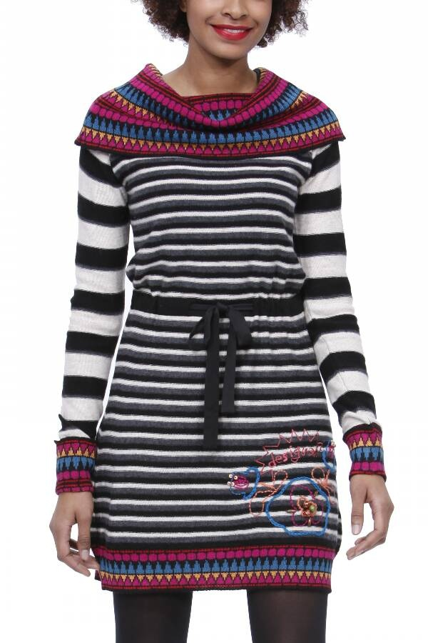 Vestido tricot rayas.